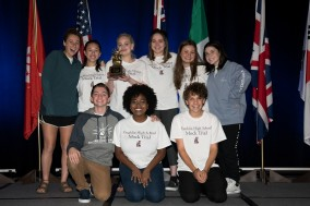 (left to right; top row) Daisy Oberfeld, Maddie Ballan, Michelle Gonikman, Sasha Shrubstok, Jenifer Fridman, Emily Dioguardo (left to right; bottom row) Zach Hermann, Asia Chester, Andrew West