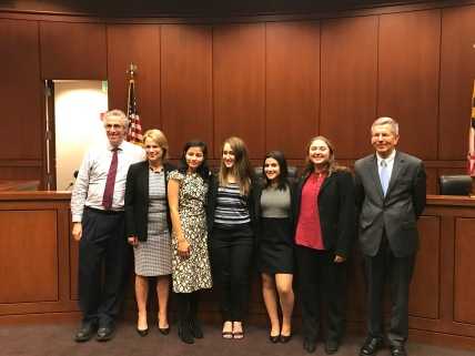 (left to right) Mark Graber (University System of Maryland Regents Professor), Carla Fuentes (head of the Maryland Bar Association), competitor from Northwood High School, competitor from Northwood High School, Emily Dioguardo, Jamie Roa, Robert N. McDonald (judge in Maryland Court of Appeals)