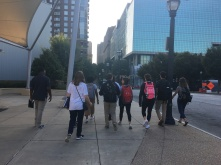 team walking around Downtown Atlanta