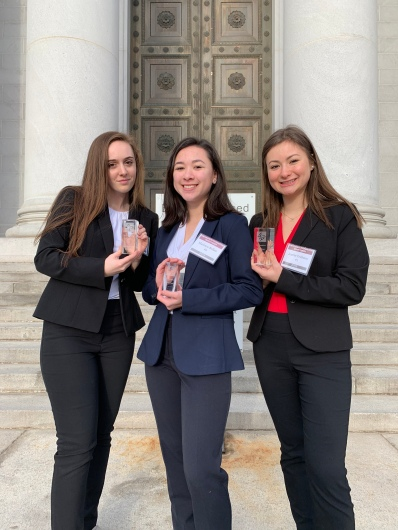 L to R: Lexi Taylor, Maddie Ballan, and Jenifer Fridman with Outstanding Orator Awards