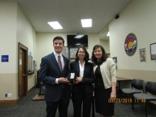 L to R: Ethan Selko and Rita Rozental with Quarterfinalists Award